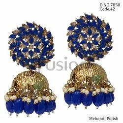 Fusion Arts Stone Jhumka Earrings