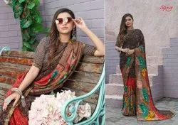 AASMA Casual Wear Ladies Designer Printed Saree, Without blouse piece, 6 m (with blouse piece)