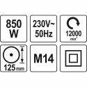 YATO YT-82097 Angle Grinder 840W 125mm Angle Grinder  (125 mm Wheel Diameter)
