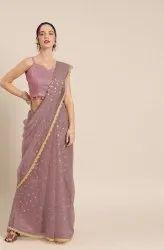 Janasya Women's Mauve Net Embellished Saree With Blouse Piece(SAR027)