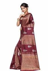Party Wear Printed Banarasi Cotton Saree, With Blouse, 6.3 m