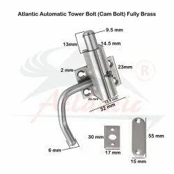 Atlantic Heavy Cam Bolt Automatic Tower Bolt Fully Brass, S.S. Finish
