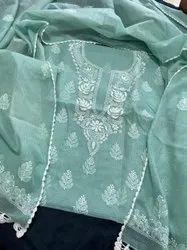 JCE Semi-Stitched Lucknowi Chikan kari Kota Doriya Suit With Dupatta, Machine wash
