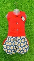 Cotton Kids Girl Orange Top Short Set, Sleeveless