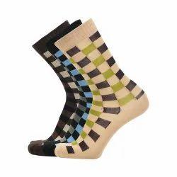 Cotton Long Printed Brown Blue Beige Socks