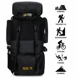 Extreme Machine Polyester Waterproof Black Trekking Hiking Rucksack Backpack, Number Of Compartments: 1, Bag Capacity: 70 L
