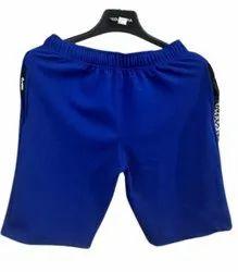 Knee Length Men Blue Cotton Lycra Plain Shorts, Size: Medium