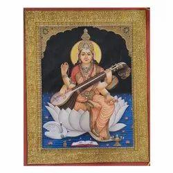 Saraswati Mata Tanjore painting on paper sheet