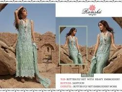 Ladies Blue Net Embroidery Suits