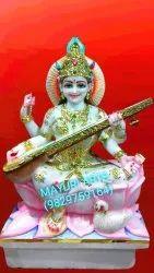 2.5 Feet Sitting Saraswati Mata Marble Statue