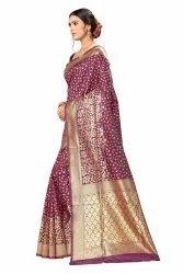 Golden Bordered Party Wear Banarasi Silk Saree, With blouse piece, 5.5 m (separate blouse piece)