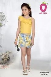 Cute Yellow One Side Frill Cut Sleeve Floral Applique Stretchable Fabric Print Shorts