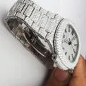 Moissanite Studded Iced Out Watch, 41mm Dial, EF/VVS Diamond, Wrist Watch 18