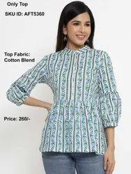 Women Printed Floral Mandarin Collar Cotton Tops