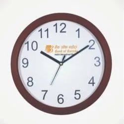 Brown 10 Inch Wooden Finish Promotional Wall Clock