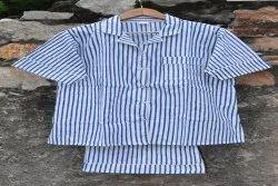 Blue Unisex Block Printed Cotton Short Pajama Set