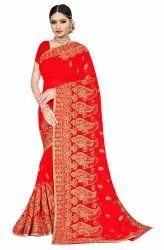 Janasya Women's Red Poly Georgette Embellished Saree With Blouse Piece(SAR084)