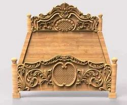 Brown CL3D393 Wooden Carving Single Bed, For Home