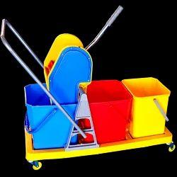 Three Bucket Mop Wringer Trolley Commercial Grade