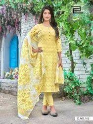 Ladies Designer Printed Cotton Readymade Suit