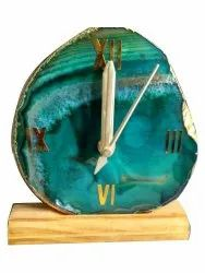 Table Clock Green Agate Slice Watch, 250gm