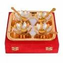 Brass Silver & Gold Plated Bowl With Tray & Spoon Set For Corporate Gift