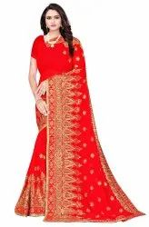 Janasya Women's Red Poly Georgette Embellished Saree With Blouse Piece(SAR089)