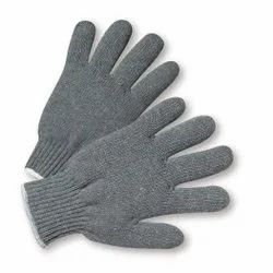 Grey Cotton Knitted Hand Gloves