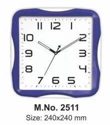 Blue Plastic Designer Clock, Size: 240x240mm, Model Name/Number: 2511