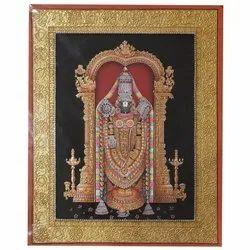 Tirupati Balaji Tanjore Painting On Paper Sheet
