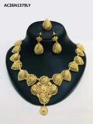 African Wedding Necklace Earrings Ring Set Ethnic Jewelry Bride Gold Plated