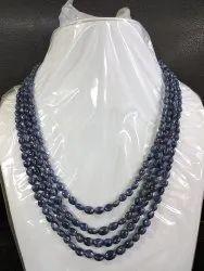 Burma Blue Sapphire Smooth Oval Gemstone Bead 4-Strand Necklace