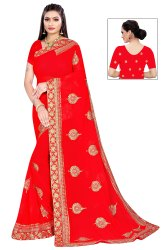 Janasya Women's Red Poly Georgette Embellished Saree With Blouse Piece(SAR079)