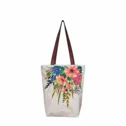 White Loop Handle Canvas Floral Printed Hand Bag, Size/Dimension: 8x12inch