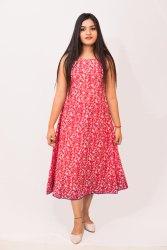 Cotton Printed A-line Calf Length Dress, 16-40