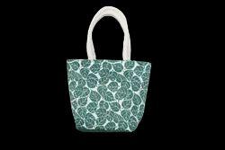 Jute Red,White Leaf Printed Juco Hand Bag, Capacity: 5 Kg