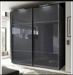 2 Doors Glass Wardrobe, With Locker, Modern