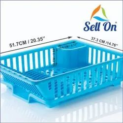 Unbreakable Plastic Kitchen Sink Dish Rack Drainer Drying Rack Washing Basket with Tray