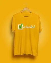 Half Sleeve Cotton Men Yellow Round Neck T Shirt, Size: Small
