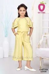 Classic Yellow Designer Wear Cut Shoulder Tops And Culottes With Embroidery