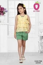 Girl Cool Yellow Heart Print Frilled Top And Green Stretchable Half Pant