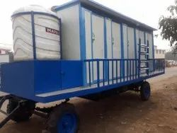 10 Seater PPGI Mobile Toilet Mounted on Trailer Chassis.