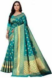 Party Wear Printed Jamdani Silk Saree, 6m