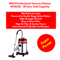 Industrial Vacuum Cleaner Powered By Double Stage Italian Motor