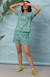 Janasya Women's Blue Cotton Night Suit Set(NW038)