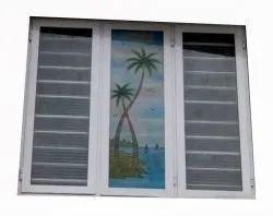 White Aluminium Frame Glass Window, For Home