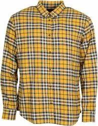 Collar Neck Men Yellow Check Shirt, Handwash, Size: Large