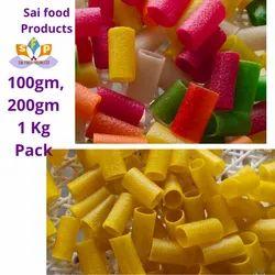 Sticky Tube Colour Salty Taste Snacks Pellet, Packaging Size: 100 Grams