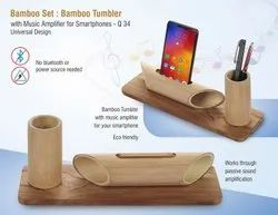 Bamboo Set: Bamboo Tumbler With Music Amplifier For Smartphones