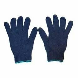 Blue Cotton Knitted Glove